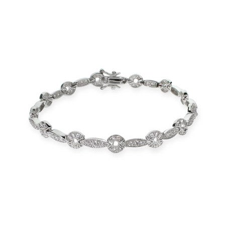Delicate Sparkling CZ Silver Tennis Bracelet | Eve's Addiction®