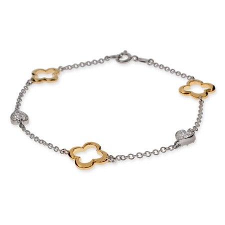 Gold & Silver Four Petal Hearts Bracelet | Eve's Addiction®
