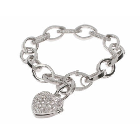 Pave CZ Link Heart Locket Silver Bracelet | Eve's Addiction®
