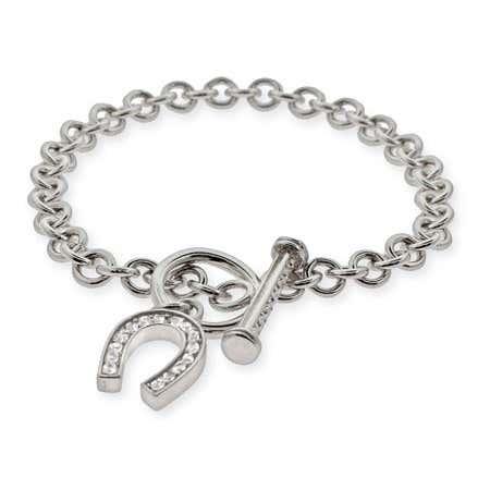 Lucky CZ Horseshoe Toggle Clasp Bracelet