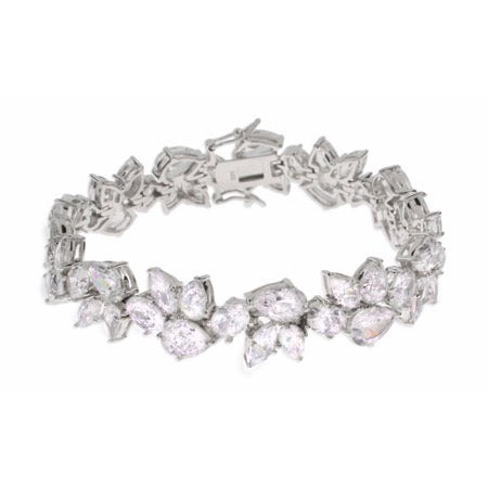 Red Carpet Glam Pear Cut CZ Sterling Silver Bracelet | Eve's Addiction®