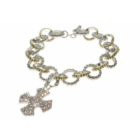 Byzantine Style Silver Link Cross Charm Bracelet | Eve's Addiction®