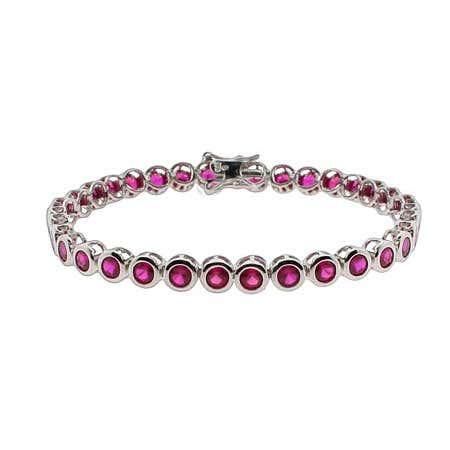 Designer Style Ruby CZ Bezel Set Tennis Bracelet | Eve's Addiction®