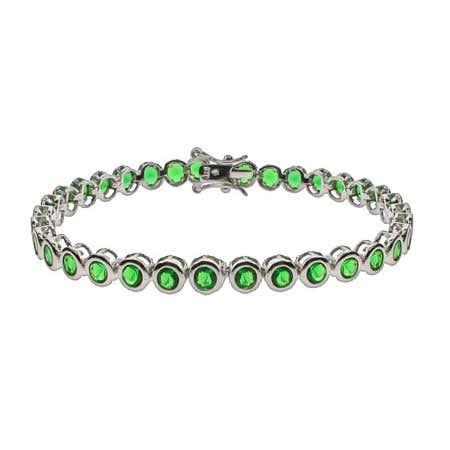 Emerald CZ Bezel Set Tennis Bracelet | Eve's Addiction®