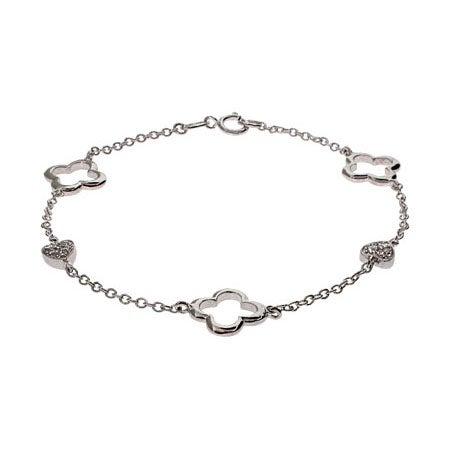 Designer Style Sterling Silver Four Petal & Heart Bracelet | Eve's Addiction®