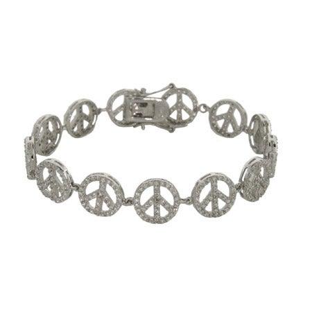 Sparkling CZ Sterling Silver Peace Sign Bracelet | Eve's Addiction®