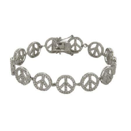 Sparkling CZ Sterling Silver Peace Sign Bracelet   Eve's Addiction®