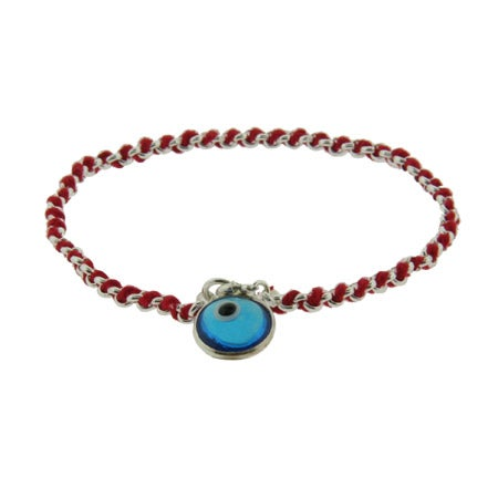 Sterling Silver Blue Glass Evil Eye Red Cord Bracelet | Eve's Addiction