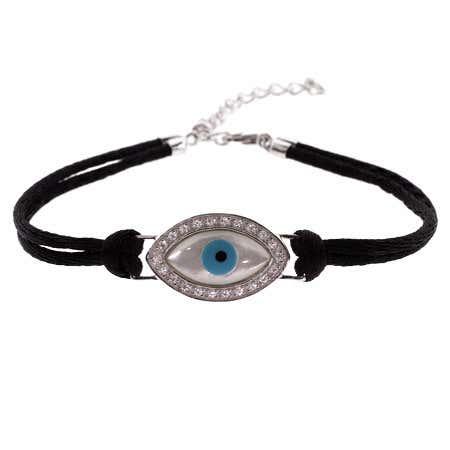 Sterling Silver Evil Eye Bracelet on Silk Cord | Eve's Addiction®