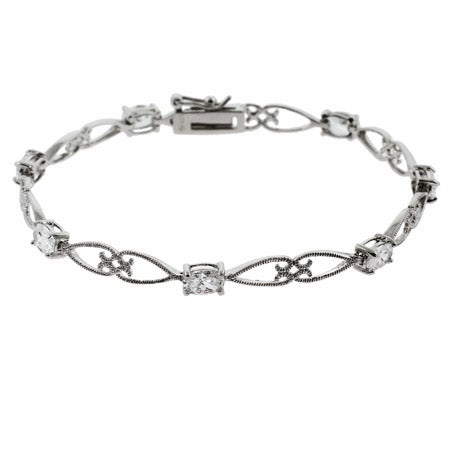 Oval Cut CZ Sterling Silver Tennis Bracelet | Eve's Addiction®