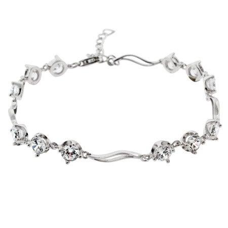 Brilliant Cut CZ Past, Present, Future Silver Tennis Bracelet | Eve's Addiction®