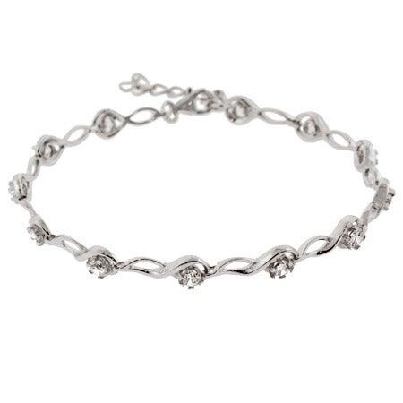Sterling Silver Brilliant Cut CZ Tear Drop Link Tennis Bracelet | Eve's Addiction®