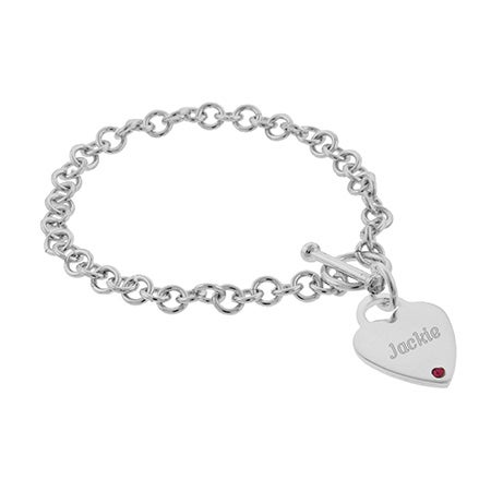 Engravable Heart Tag Custom Birthstone Bracelet | Eve's Addiction®