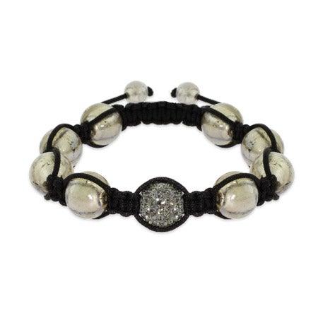 Gray Pave Austrian Crystal Shamballa Inspired Bead Bracelet | Eve's Addiction®