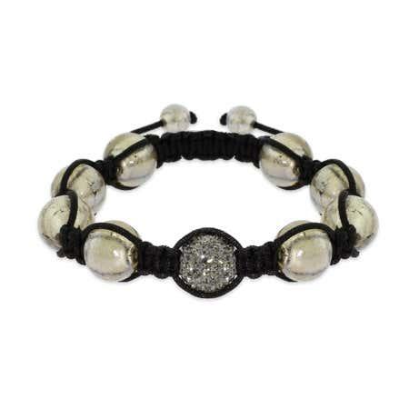Gray Pave Austrian Crystal Bead Bracelet