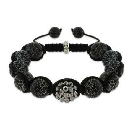 Marbled Black Fire Agate Shamballa Inspired Bracelet | Eve's Addiction®