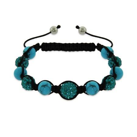 Sparkling Blue Austrian Crystal and Turquoise Bead Shamballa Style Bracelet | Eve's Addiction®