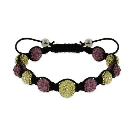 Lavender and Gold Austrian Crystal Shamballa Inspired Bracelet | Eve's Addiction®