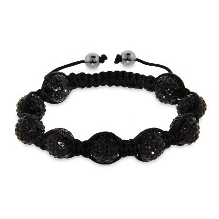 Sparkling 12mm Black Austrian Crystal Shamballa Style Bracelet - Clearance Final Sale
