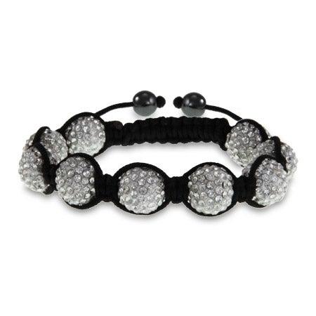 Sparkling 12 mm White Austrian Crystal Shamballa Style Bracelet | Eve's Addiction®