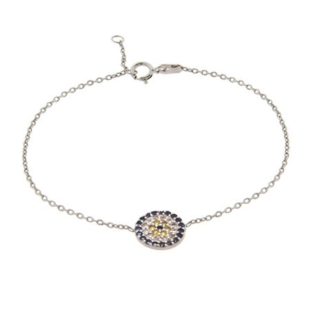 Sterling Silver Blue Evil Eye CZ Bracelet | Eve's Addiction®