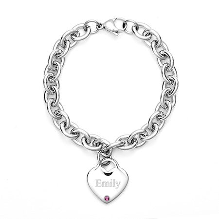 Stainless Steel Birthstone Heart Tag Bracelet