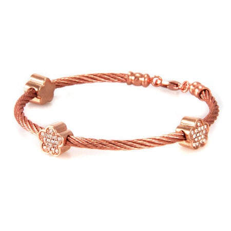 Designer Inspired Rose Gold Stackable Rope Bracelet with CZ Flowers | Eve's Addiction®