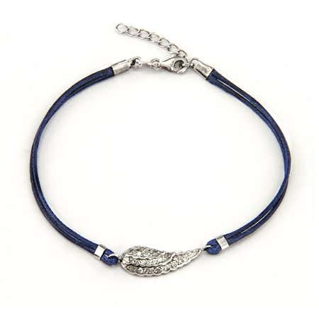Sterling Silver and CZ Petite Angel Wing Bracelet | Eve's Addiction®