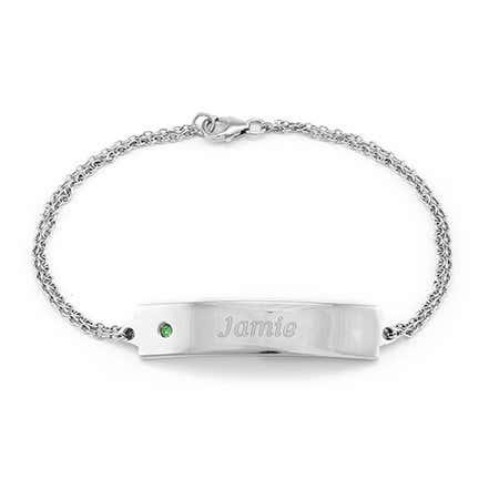Custom Birthstone Engravable ID Bracelet in Sterling SIlver