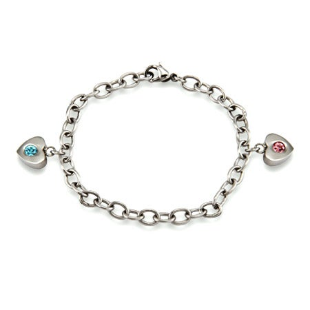 Family of Hearts 2 Birthstone Bracelet in Sterling Silver