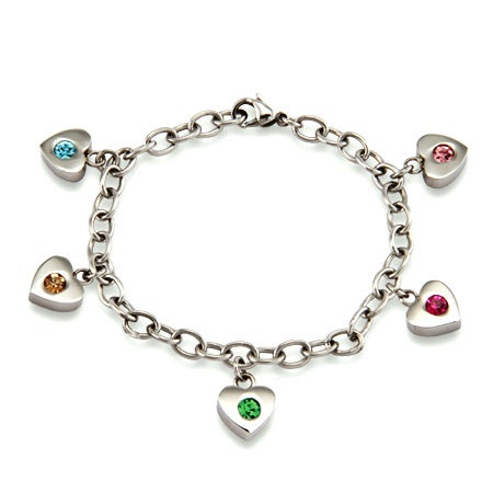 Five Birthstone Family of Hearts Bracelet | Eve's Addiction®