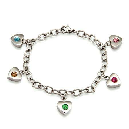 Five Birthstone Family of Hearts Bracelet