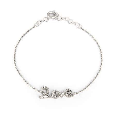 Sterling Silver CZ Petite Love Bracelet   Eve's Addiction®
