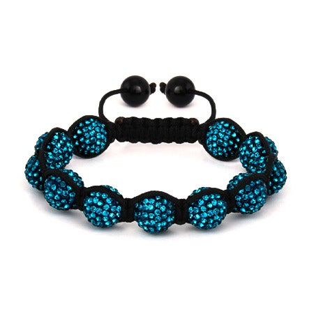 Sparkling 12mm Teal Austrian Crystal Shamballa Style Bracelet | Eve's Addiction®