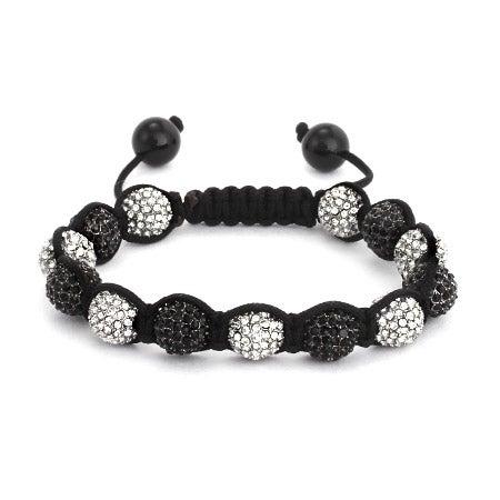 Shamballa Inspired 10mm White and Black CZ Pave Bead Bracelet | Eve's Addiction®