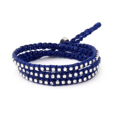 Chen Rai Royal Blue Macrame and CZ Wrap Bracelet | Eve's Addiction®