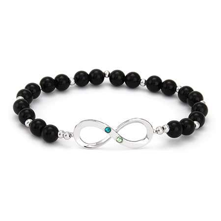Two Birthstone Infinity Onyx Beaded Bracelet