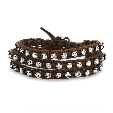 Chen Rai Brown Macrame and CZ Wrap Bracelet | Eve's Addiction®