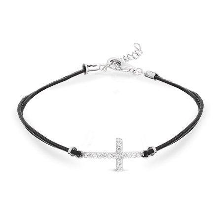 Black Leather Sideways Cross CZ Bracelet | Eve's Addiction®
