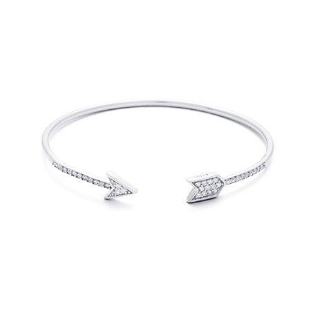 Sterling Silver Pave CZ Arrow Cuff Bracelet | Eve's Addiction®