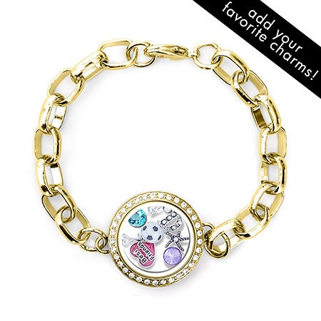 Gold CZ Round Floating Locket Link Bracelet | Eve's Addiction®