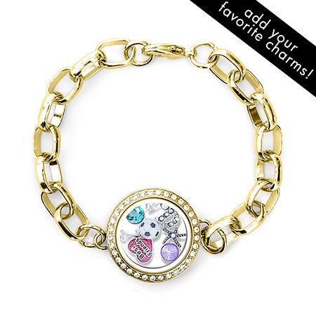 Gold Cz Round Floating Locket Link Bracelet Customizable 23 80