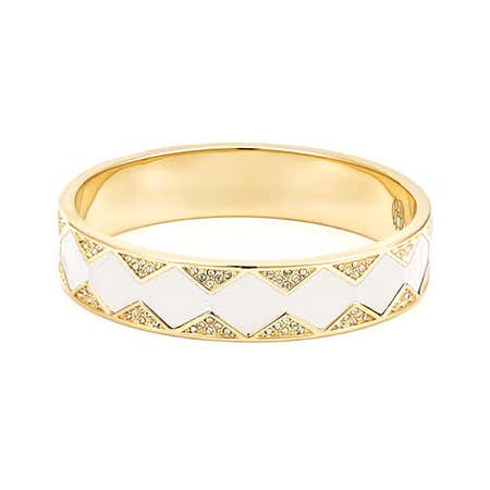 Leather Pave CZ Sunburst Bangle in White & Gold by House of Harlow 1960