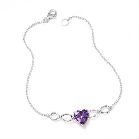 Custom Heart Birthstone Infinity Bracelet
