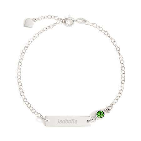 display slide 1 of 3 - Sterling Silver Custom Birthstone Name Bar Bracelet - selected slide