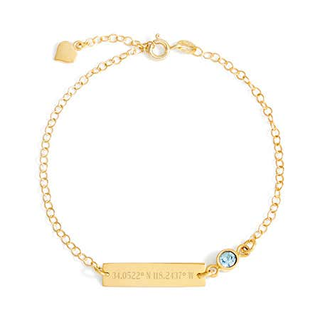 display slide 1 of 2 - Gold Custom Coordinates CZ Birthstone Bracelet - selected slide