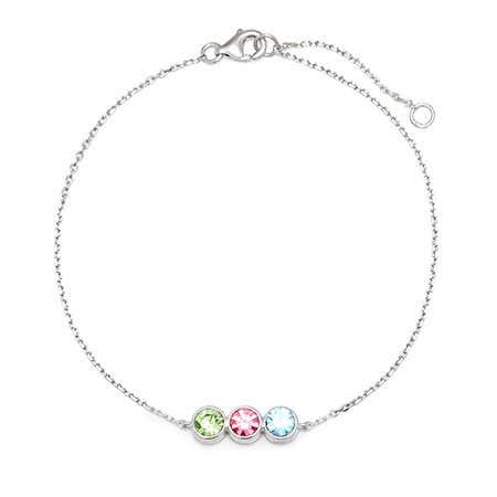3 Stone Custom CZ Birthstone Bracelet | Eve's Addiction
