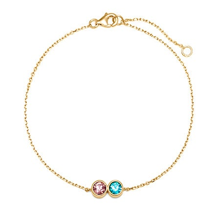 2 Stone CZ Custom Birthstone Bracelet | Eve's Addiction