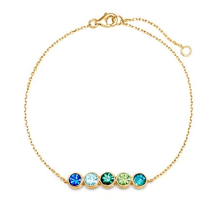 5 Stone Custom Birthstone Bracelet | Custom 5 CZ Bangle