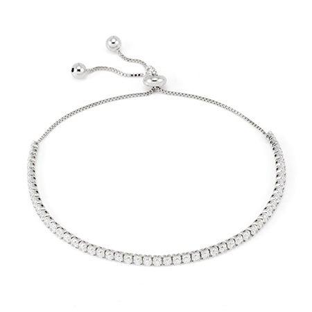 Petite Sterling Silver Cubic Zirconia Bolo Tennis Bracelet